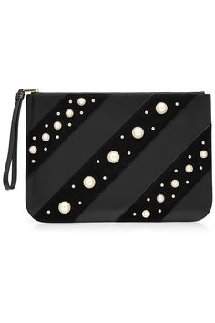 KARL LAGERFELD Karl Lagerfeld Embellished Leather Zipped Clutch. #karllagerfeld #bags #leather #clutch #hand bags #