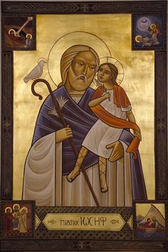 This is the most beautiful icon of St. Joseph and the infant Christ!  Be sure and notice the four small images from the life of the Holy Family in the each corner!