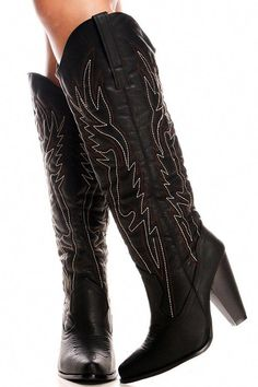 319078d4482 BLACK FAUX LEATHER STITCHED DESIGN CHUNKY HEEL CASUAL KNEE HIGH WESTERN  BOOTS