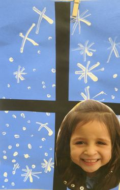 "Winter Snow Craft -  Students paint ""snow"" on a blue sheet of construction paper.  (I had my 4 and 5 year old students make these.  Some actually try to make flakes, others just make snow ""dots"".)  Simply add window frame and close up face picture of child when the paint dries...This is a wonderful keepsake craft."