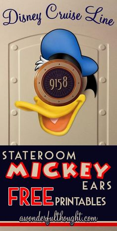 Decorate your stateroom door on Disney Cruise Line with this cute Donald Duck Stateroom Mickey Ears!  Free to print and easy to make into a magnet for a door decoration.  Get more ears at awonderfulthought.com