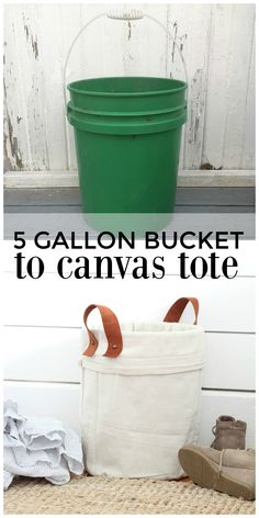 DIY Canvas Tote Using a Five Gallon Bucket and Drop Cloth - Farmhouse on Boone Five Gallon Bucket, 5 Gallon Buckets, Diy Décoration, Easy Diy, Sewing Projects For Beginners, Diy Projects, Spray Paint Projects, Lohals, Drop Cloth Projects