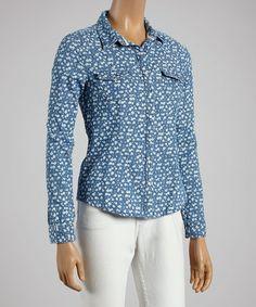 Love this Blue & White Floral Button-Up on #zulily! #zulilyfinds