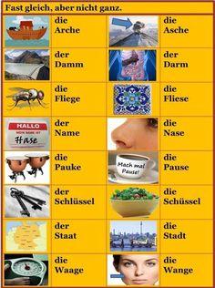Fast gleich, aber nicht ganz - Almost the same, but not quite Study German, Learn German, German Grammar, German Words, Deutsch Language, Confusing Words, Spanish Basics, Germany Language, German Language Learning