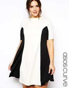 ASOS CURVE Exclusive Colourblock Skater Dress In Scuba And Texture