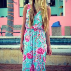 Lilly Pulitzer Mills Racerback Maxi Dress in Jellies Be Jammin, via blushandblonde