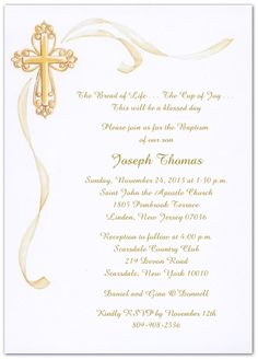 Baby Dedication Baptism Or First Communion Invitation With Cross