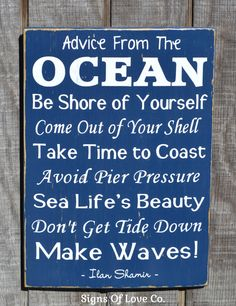 Advice From The Ocean Wooden Sign - Beach Sign - Beach Decor - Coastal Decoration - Inspirational Make Waves Nautical Navy Hand Painted