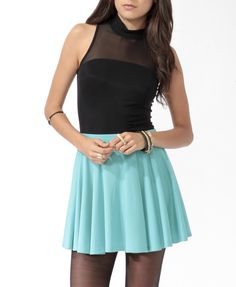 This Colorblocked Skater Dress looks like a Power Puff Girl's dress.