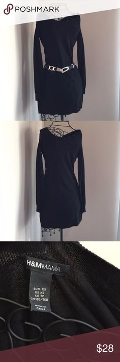 tunic sweater Long Black Sweater Dress! Never worn. Hanger string still on. Labeled as maternity brand, but worn as a dress. Can likely also be worn as a tunic. No trades or Paypal. Belt NOT included H&M Mama Tops Tunics