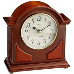 Seiko Mantel Chime Clock Brown Wooden Case ($99) ❤ liked on Polyvore featuring home, home decor, clocks, wooden alarm clock, chiming mantel clock, wood clock, seiko clock and battery operated alarm clock