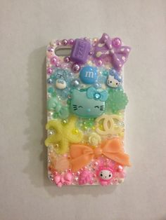 kawaii PASTEL RAINBOW iphone 4 decoden case with lipgloss. $34.80, via Etsy.