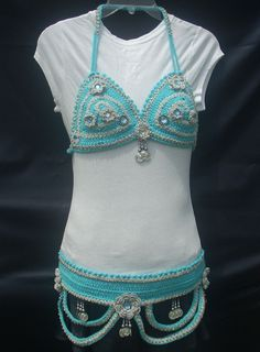 Belly Dance Turquoise Blue Bra and Belt Set by BellyCrochet on Etsy