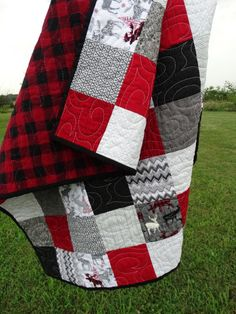 Moose and deer, red, black and grey baby room decor, photo prop, hunter baby quilt
