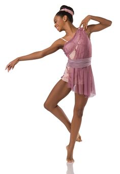 Bootytard With Attached Asymmetrical Dress: Rose stretch mesh, rose fishnet with sequins, and nude spandex lining ; Trim: Rose spandex belt and adjustable strap ; Modern Contemporary Dance, Contemporary Dance Costumes, Modern Dance, Lyrical Dance, Jazz Shoes, Dance Tights, Ballet Costumes, Dance Outfits, Asymmetrical Dress