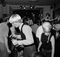 The Byrds at the Trip, Sunset Strip, Los Angeles, circa 1965. Deanna De De Mollner, the blonde girl, right in the picture, crazy dance after a walk with friend Michael Clarke. Photo by Michael Ochs.