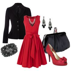 """""""Color Duo - Black and Red"""" by stylesbyjoey on Polyvore"""