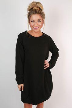 Cozy Jet Setting Sweatshirt Tunic Dress in Black