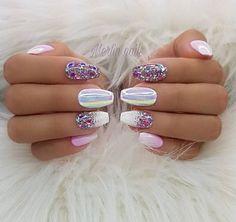 100 Spring Nail Art Designs for Women 2020 Fancy Nails, Cute Nails, Pretty Nails, My Nails, Fancy Nail Art, Sparkle Nails, Gold Nails, Gel Nail Art, Nail Manicure