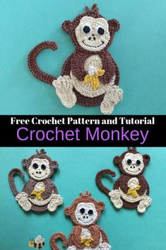 Get this free crochet pattern of a crochet monkey at Kerri's Crochet, along with many other crochet animal patterns. #CrochetMonkey #FreeCrochetPattern #CrochetAnimals