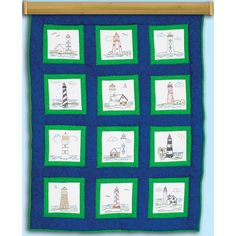 JACK DEMPSEY-Stamped Embroidery: Quilt Blocks. Make a fun quilt with these beautiful hand-embroidery pieces! This package contains twelve 9x9 inch white poly/cotton quilt blocks pre-printed with wash-