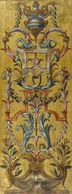 "One painted panel:voir tableau ""groyesque dans l'art "" chez Jean-Claude Massou Mural Art, Wall Murals, Wall Art, Chinoiserie, Motif Arabesque, Decorative Panels, Hand Painted Furniture, Art Decor, Antiques"