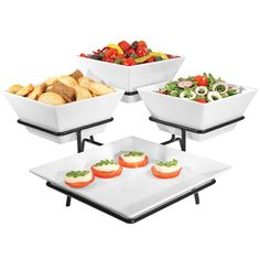 Cal-Mil Black Organizer Display with One Square Melamine Platter and Three Square Melamine Bowls - 19 inch x 19 inch x 11 inch Rustic Food Display, Catering Display, Dish Display, Catering Food, Deco Table, A Table, Charcuterie And Cheese Board, Buffet Server, Food Displays