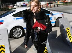 check out that jacket. #JessicaMinkoff in NYC.