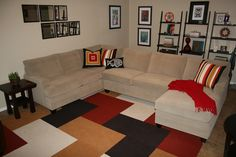 Carpet Tile Living Room - except include turquoise, and brown shades, not orange