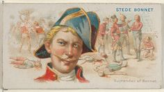 """Steve Bonnet, Surrender of Bonnet, from the """"Pirates of the Spanish Main"""" series (N19), for Allen & Ginter Brand Cigarettes, c1888. Barbados Beaches, Barbados Travel, Stede Bonnet, Bridgetown Barbados, Famous Pirates, Golden Age Of Piracy, Treasure Island, Japanese Prints, Vacation Places"""