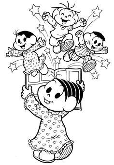 livro para colorir turma da monica - Pesquisa Google Decoupage, Minnie Mouse, Disney Characters, Fictional Characters, Snoopy, Clip Art, Lol, Cartoon, Embroidery