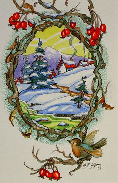 "From the 'Wintertide Village Storybook Cottage Series' -- by Alida Akers; ""This series is inspired by early 1900's greeting card graphics. My little red roofed cottages are poster children for the less is more lifestyle."""