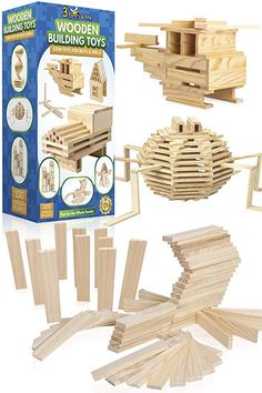 Amazon.com: 3 Bees & Me Wooden Building Toys - STEM Toys for Boys and Girls - 100 Wood Plank Pieces: Toys & Games. #bestkidstoys #bestkidstoy #kidstoys #toy #kidsgifts #giftforkids #3beesandme #toystorage #toyroom #woodentoys #toysforkids Best Kids Toys, Toys For Boys, Montessori Activities, Toddler Activities, Binoculars For Kids, How To Make Toys, Gifted Kids, Toy Rooms, Kids Corner