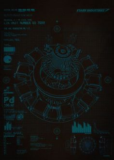 Iron man blueprint google search marvel blueprints and secrets schematics of the stark arc reactor from ironman malvernweather Choice Image