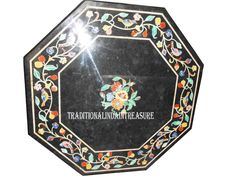 "15"" Black Marble Coffee Table Top Marquetry Floral Inlay Art Furniture Decor #AgraHeritageMarbleCrafts #ArtsCraftsMissionStyle #Black #Marble #CoffeeTable #FurnitureDecor #MarquetryTable #FurnitureDecor #GardenTable #PatioDecor #HomeDecor #OctagonTable #Decorative"