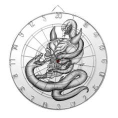 Skull - Devil Head with Snake Dartboard - NEW by Krisi ArtKSZP on Zazzle