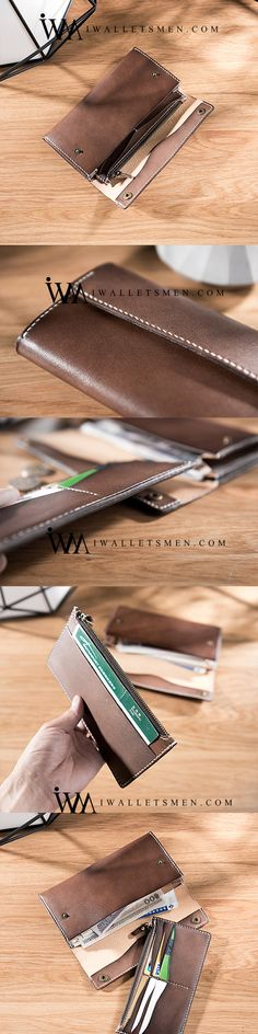 HANDMADE LEATHER MENS CLUTCH WALLET COOL LEATHER WALLET LONG PHONE WALLETS FOR MENlo