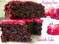 Ceara's Kitchen: (Low Fat) Chocolate Cake with (Sugar Free) Raspberry Glaze -- no oil added chocolate cake! Under 130 calories for one BIG piece!! #vegan #healthy