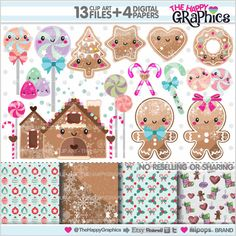 Gingerbread Clipart Gingerbread Graphics by TheHappyGraphics Christmas Tree Lots, Christmas Mood, Christmas Villages, Christmas Paper, Christmas Graphics, Christmas Clipart, Christmas Printables, Kawaii Doodles, Pink Paper