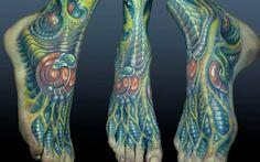biomechanical foot tattoo