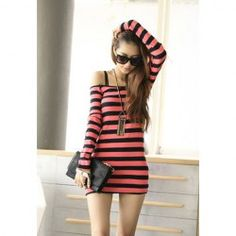 $6.16 Ladylike Style Boat Neck Long Sleeves Stripe Pattern Embellished Slimming Fit Dress For Women