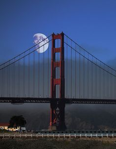 Moon Over Foggy Golden Gate Bridge
