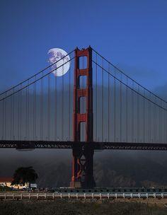 Moon Over Foggy Golden Gate Bridge