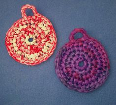 Two Plarn Dish Scrubbies purple and fluorescent red by plarnstar