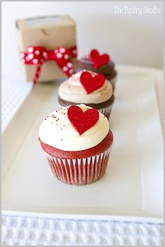 cute red heart cupcakes for holidays