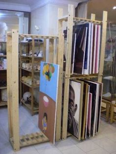 I'm Building a painting storage rack - Page 2 - WetCanvas Ikea shelving--various sized canvases