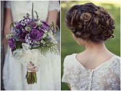vintage up do, curls + pretty purple bouquet wrapped in lace