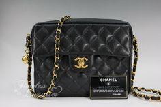 CHANEL Vintage Sac Camera Bag Black Caviar Gold Hw