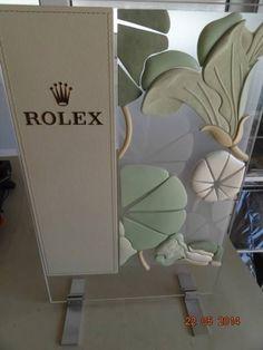 RARE ROLEX WATCH ADVERTISING DISPLAYsign PLEXIGLASS PLASTIC METAL JEWELLER SHOP #OMEGA #CARTIER #VACHERONCONSTANTIN
