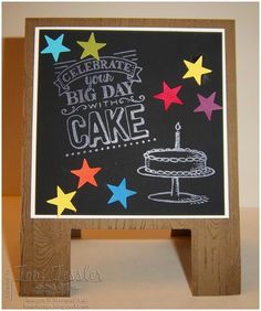 Toni Tessler (tonistamps) Independent Stampin Up Demonstrator. Chalkboard easel birthday card, Chalkboard paper, Hardwood background, Itty Bitty Accents punch pack